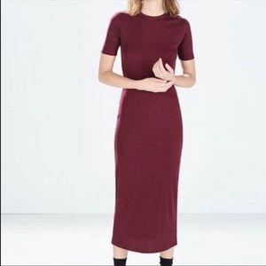 Zara ribbed mock neck dress